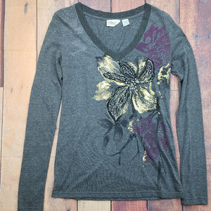 Miss Me long sleeve shirt with floral design Sz L